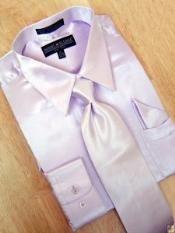 SKU * KV901 Camisa de raso vestido de la lavanda corbata Hanky Set