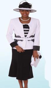 SKU*KA6105 Lynda Couture promocional Traje para Mujeres - Blanco Con Negro