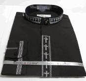 SKU*AC-739 Negro y Blanco Cruzar Bordado Mandarín Collar Camisa