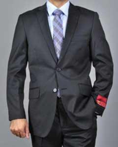 SKU*KA 2 botón de Lana Textured Negro Delgado adecuado Masculino Satisfacen