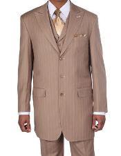 SKU*K9462 Nuevos Trajes a Rayas de Clásico de Jefe Masculinos w/Vest en Bronceado 149 dólares