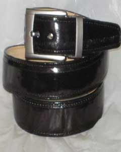 SKU*HA244 De los hombres Auténtico Negro Anguila Cinturón & Desmontable hebilla