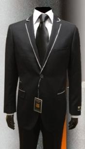 SKU*JK9340 Negro Gianni Uomo Con Plata Enmarcado Collar Esmoquin