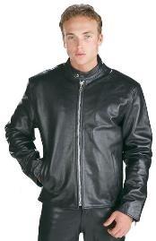 SKU * IJ515 Negro Cuero Motocicleta Corredor Chaqueta