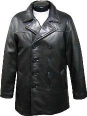 Clásico Negro Guisante Abrigo