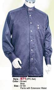 SKU*LA234 Azul Raya Largo Manga Camisa con Pareo Pantalón