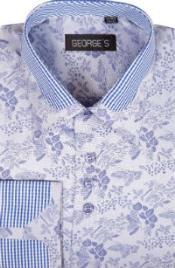 SKU*SW952 Azul Algodón con Poliéster Untado Collar Vestir Camisa