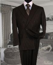 SKU*IU6787 Chocolate marrón Suave Raya Traje Con Plisado Arrugado Pantalón