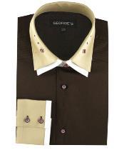SKU*HA2034 100% Algodón vestir Sólido marrón Color Doble Untado Collar Camisa
