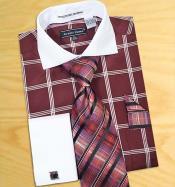 SKU*HA361 borgoña Blanco Collar y Cristales de las ventanas Diseño Dos Tonificado Camisa