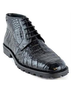 SKU*MK888 Negro Caimán Cuero Botín Zapato