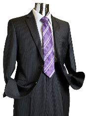 SKU*CHL6713 Hombres carbón rayado 100% lana traje