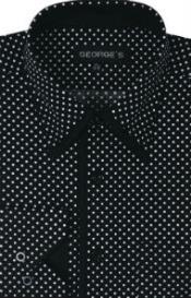 SKU*SW932 Negro Polca Punto Diseño Algodón Vestir Camisa