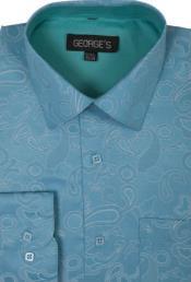 SKU*SW928 Turquesa Algodón y Poliéster Untado Collar Camisa