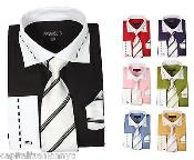 SKU*PN66 Formal Vestir Camisa Tonal Raya Corbata Pañuelo