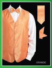 SKU*NNW3 Brillante cachemir jacquard Naranja 4 pieza Chaleco Conjunto (Pajarita, corbata, pañuelo)