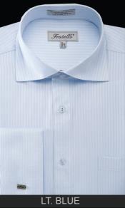 SKU*LT54C Ligero azul raya brazalete francés camisa de vestir