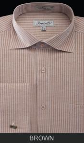 SKU*WY9E Marrón raya brazalete francés camisa de vestir