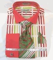 SKU*RM1267 Multi Coral Negrita Raya francés Bofetada Vestir Camisa