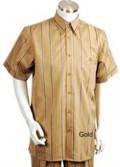 SKU*KA6789 Oro Raya Corto Manga Ocio Camisa con Pareo Pantalón