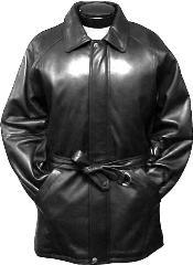 SKU*QVS133 Negro Cuero 3/4 Longitud Zanja Abrigo Con Cinturón
