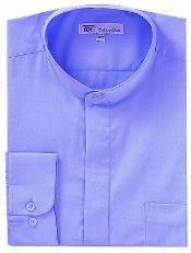 SKU*AA413 Lavanda y Ligero Azul Mandarín Collar Vestir Camisa