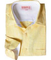 Amarillo Lino Vestir Camisa