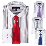 SKU*PN72 Delgado Collar Raya Vestir Camisa Con Sólido Corbata