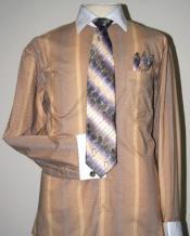 SKU*AC-486 Mostaza Dos Tono Rayas Vestir Camisa con Corbata