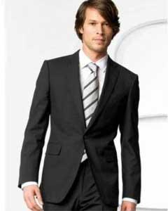 SKU*FK7400 Hombres Elegante Un Botón Pleito Negro