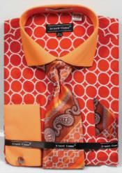 SKU*MK813 Naranja Avanti Uomo Impreso Francés Bofetada Camisa