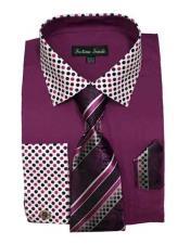 SKU*HA1994 Rosa Púrpura Color Polca Punto Patrón Pareo Corbata Y Pañuelo Vestir Camisa