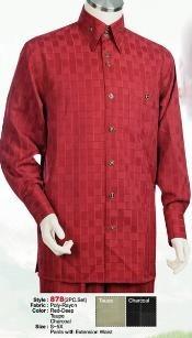 SKU*GS612 Rojo Comprobar Largo Manga Camisa con Pareo Pantalón