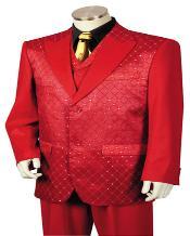 SKU*KA2311 Hombres Satín Brillante Rojo Traje Y Esmoquin