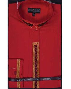 SKU*SM657 Rojo Bordado Congregado Collar Lujoso Vestir Camisa