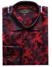 Rojo Floral Sedoso Toque