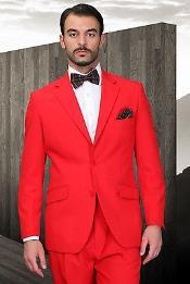 SKU*KA7723 De los hombres rojo Moderno Cortar Soltero Pecho 2 Botón Traje