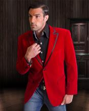 SKU*RN03 2 Tono rojo Guarnición Terciopelo Terciopelo Formal Smoking Chaqueta