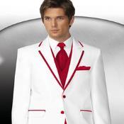 Rojo Recortar Collar Esmoquin