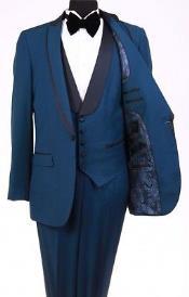 SKU*RM1112 Bryan Michaels Teal Azul Chal Collar Uno Botón Esmoquin