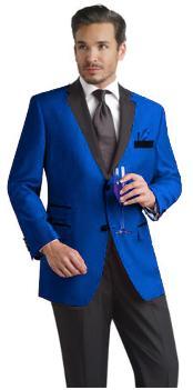 SKU*RYB682 Real Azul Con Negro Solapa Terciopelo Esmoquin Traje