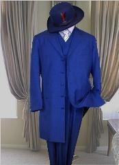 SKU * ZRBF Real Azul Largo Moda Zoot Traje