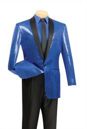 SKU*AC-257 Brillante Ostentoso Azul Chal Collar Cena Chaqueta