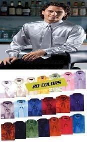 SKU*WN9370 Brillante camisa de vestir de raso de seda con lazo Combo