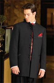 SKU * WI09 Negro 8 Botón Soltero Breasted Mandarín Collar Esmoquin