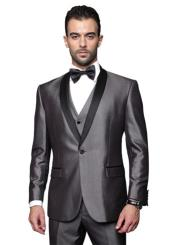SKU*RM1530 Sólido Gris Soltero Breasted Smoking Traje