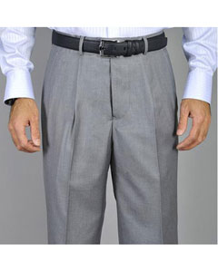 Gris Soltero Pliegue Pantalones