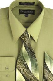 SKU*SW910 Caqui Milán Moda Algodón Vestir Camisa con Corbata