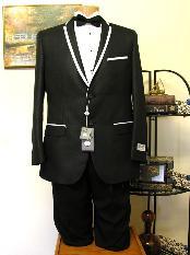 Negro Recortado Collar Smoking