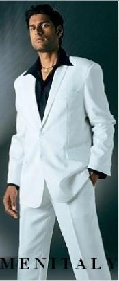 SKU*MUFF23 Ligero peso blanco 3 botón traje con no pliegue pantalón